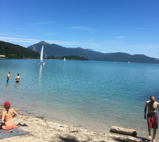 Swimming in lake Walchensee.